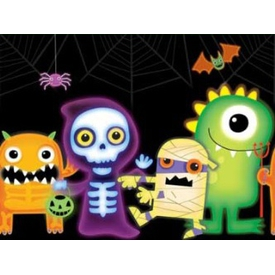Parti Paketi Boo Monsters, Plastik Masa Örtüsü Parti Masa Örtüsü