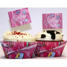 Parti Paketi Süslü Prenses, Cupcake Kağıdı Ve Dekoru 24'lü Parti Tabağı