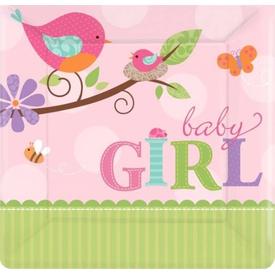 Parti Paketi Baby Girl, Kare Küçük Tabak 8'li Parti Tabağı