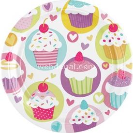 Parti Paketi Sweet Cupcake, Büyük Tabak 8'li Parti Tabağı