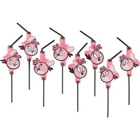 Parti Paketi Angry Birds Pink, Şekilli Pipet 8'li Parti Pipeti