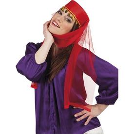 Parti Paketi Kırmızı Kına Fesi, Tüllü Kostüm Şapkası