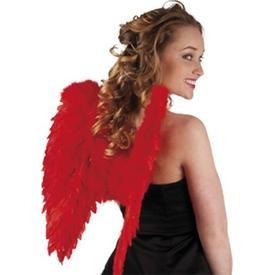 Parti Paketi Melek Kanadı Kırmızı Kuştüyü, Katlanır Kanat / Taç