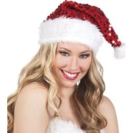 Parti Paketi Noel Baba Şapkası, Payetli Kostüm Şapkası