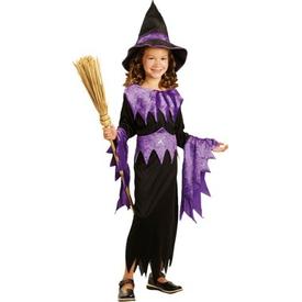 Parti Paketi Cadı Kostümü, Mor 4-6 Yaş Kız Çocuk Kostümleri