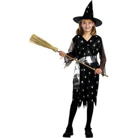 Parti Paketi Cadı Kostümü, Gümüş 10-12 Yaş Kız Çocuk Kostümleri