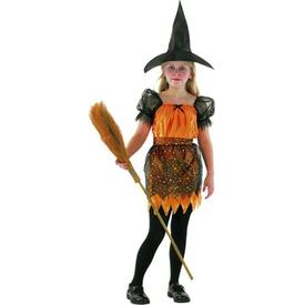Parti Paketi Cadı Kostümü, Turuncu 4-6 Yaş Kız Çocuk Kostümleri