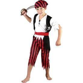 Parti Paketi Korsan Çocuk Kostümü, Lüks Kırmızı 4-6 Yaş Erkek Çocuk Kostümleri
