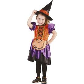 Parti Paketi Balkabağı Cadısı Kostümü, 3-4 Yaş Kız Çocuk Kostümleri