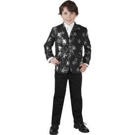 Parti Paketi Yıldızlı Parti Ceketi, Siyah/gümüş 7-9 Yaş Erkek Çocuk Kostümleri