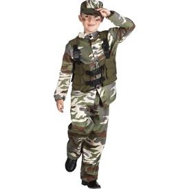 Parti Paketi Asker Kamuflaj Kostümü, Lüks 10-12 Yaş Erkek Çocuk Kostümleri