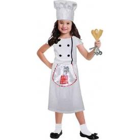 Parti Paketi Şef Aşçı Kız Kostümü 3-6 Yaş Kız Çocuk Kostümleri