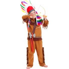 Parti Paketi Kızılderili Kostüm Ve Aksesuar Seti 3-6 Yaş Erkek Çocuk Kostümleri