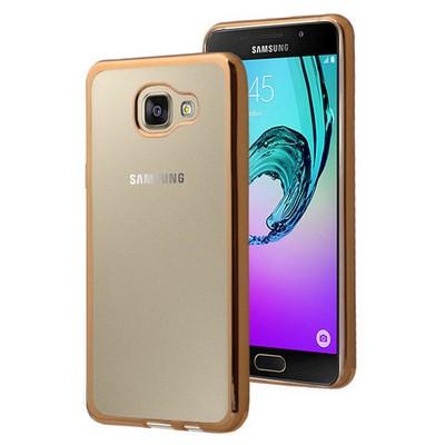 Microsonic Samsung Galaxy A7 2016 Kılıf Flexi Delux Gold Cep Telefonu Kılıfı