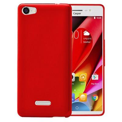 Microsonic Casper Via M1 Kılıf Glossy Soft Şeffaf Kırmızı Cep Telefonu Kılıfı