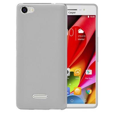 Microsonic Casper Via M1 Kılıf Glossy Soft Şeffaf Beyaz Cep Telefonu Kılıfı