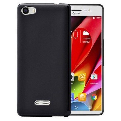 Microsonic Casper Via M1 Kılıf parlak Soft Siyah Cep Telefonu Kılıfı