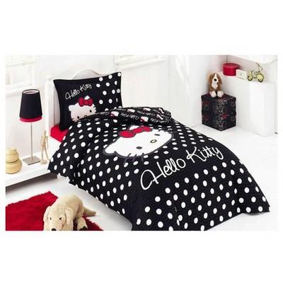 Altınbaşak Hello Kitty Genç Uyku Seti - Siyah Nevresim Takımı