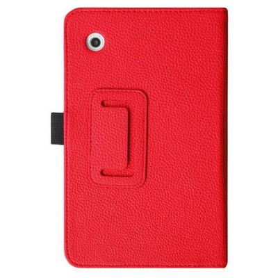 Microsonic Lenovo Tab2 A7-30 7 Inch Tablet Kickstand Deri Kılıf Kırmızı Tablet Kılıfı