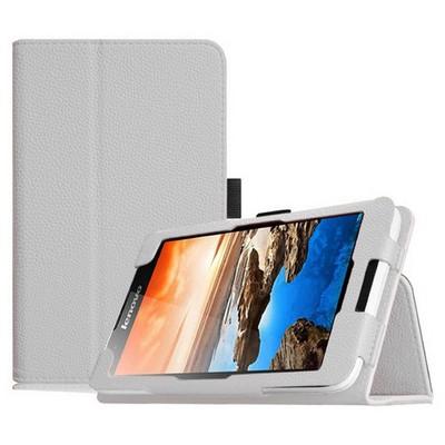 Microsonic Lenovo Tab2 A7-30 7 Inch Tablet Kickstand Deri Kılıf Beyaz Tablet Kılıfı