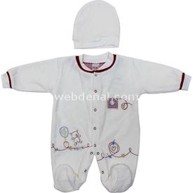 Sebi Bebe 52326 Kadife Patikli  Kırmızı 0-3 Ay (56-62 Cm) Bebek Tulumu