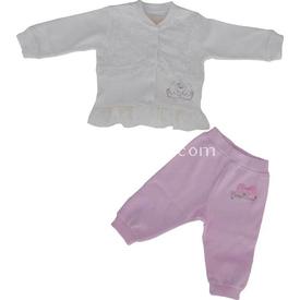 Aziz Bebe 2560 Kız Bebek Alt Üst Takım Ekru 6-9 Ay (68-74 Cm) Erkek Bebek Takım