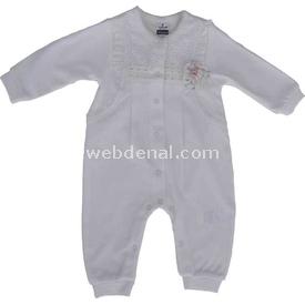 Caramell Tk2237 Kız Bebek Tulum Ekru 9-12 Ay (74-80 Cm) Bebek Tulumu