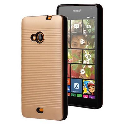 Microsonic Microsoft Lumia 535 Kılıf Linie Anti-shock Gold Cep Telefonu Kılıfı