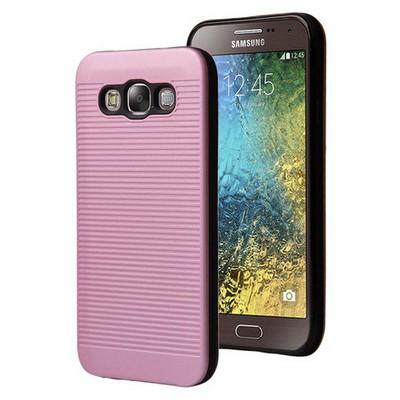 Microsonic Samsung Galaxy E7 Kılıf Linie Anti-shock Pembe Cep Telefonu Kılıfı