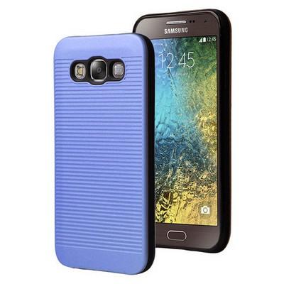 Microsonic Samsung Galaxy E7 Kılıf Linie Anti-shock Mavi Cep Telefonu Kılıfı