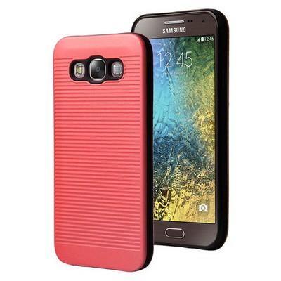 Microsonic Samsung Galaxy E7 Kılıf Linie Anti-shock Kırmızı Cep Telefonu Kılıfı