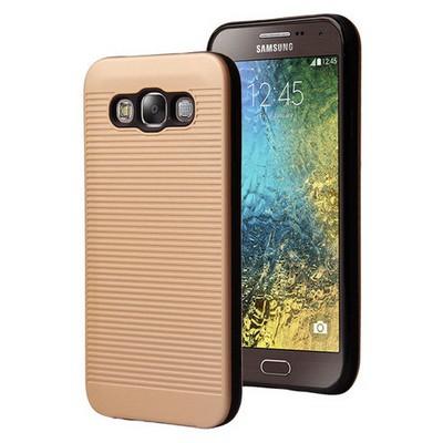 Microsonic Samsung Galaxy E7 Kılıf Linie Anti-shock Gold Cep Telefonu Kılıfı