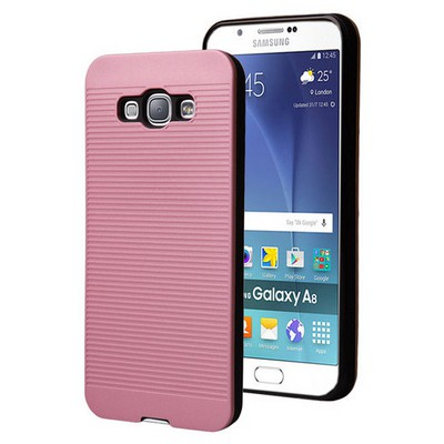 Microsonic Samsung Galaxy A8 Kılıf Linie Anti-shock Pembe Cep Telefonu Kılıfı