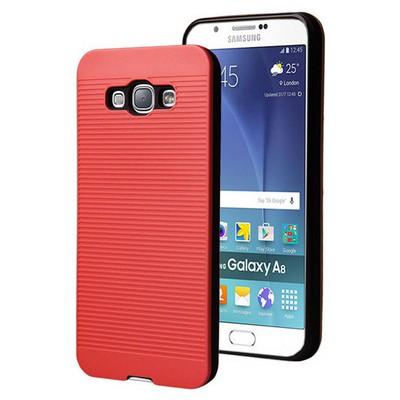 Microsonic Samsung Galaxy A8 Kılıf Linie Anti-shock Kırmızı Cep Telefonu Kılıfı