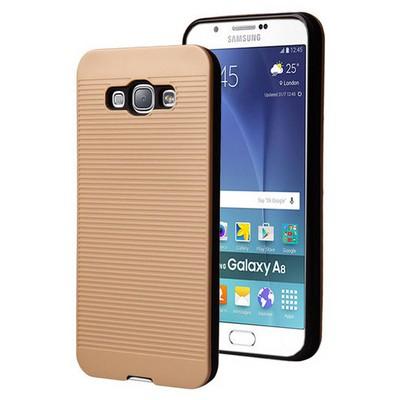 Microsonic Samsung Galaxy A8 Kılıf Linie Anti-shock Gold Cep Telefonu Kılıfı