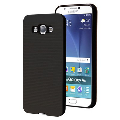 Microsonic Samsung Galaxy A8 Kılıf Linie Anti-shock Siyah Cep Telefonu Kılıfı