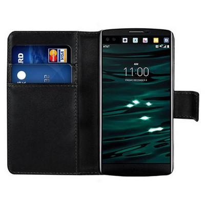 Microsonic Lg V10 Kılıf Cüzdanlı Deri Siyah Cep Telefonu Kılıfı