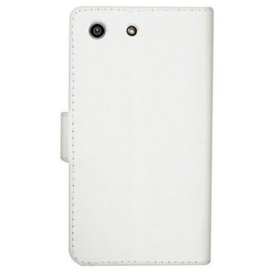 Microsonic Sony Xperia M5 Kılıf Cüzdanlı Deri Beyaz Cep Telefonu Kılıfı