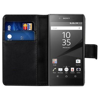 Microsonic Sony Xperia Z5 Premium Kılıf Cüzdanlı Deri Siyah Cep Telefonu Kılıfı