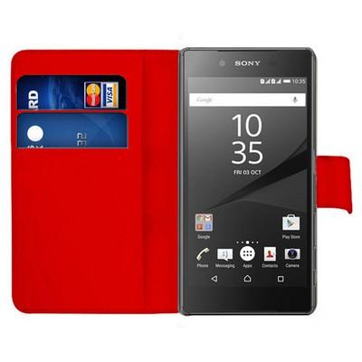Microsonic Sony Xperia Z5 Kılıf Cüzdanlı Deri Kırmızı Cep Telefonu Kılıfı
