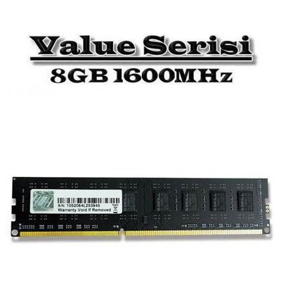 G.Skill Value 8GB Desktop Bellek (F3-1600C11S-8GNT)