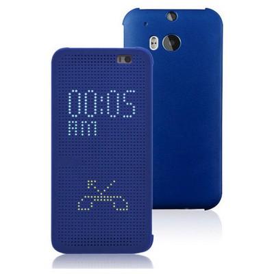 Microsonic View Cover Dot Delux Kapaklı Htc One M8s Kılıf Akıllı Modlu Mavi Cep Telefonu Kılıfı