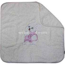 Bebitof 5105 Bebek Havlu Battaniye Tavşanlı Krem-pembe Bebek Battaniyesi