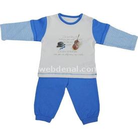 Baby Center S80275 Kemanlı Omuzdan Patlı Erkek Bebek 2 Li Takım Mavi 0-3 Ay (56-62 Cm) Erkek Bebek Takım