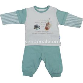 Baby Center S80275 Kemanlı Omuzdan Patlı Erkek Bebek 2 Li Takım Mint 0-3 Ay (56-62 Cm) Erkek Bebek Takım