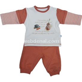 Baby Center S80275 Kemanlı Omuzdan Patlı Erkek Bebek 2 Li Takım Kiremit 0-3 Ay (56-62 Cm) Erkek Bebek Takım