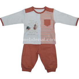 Baby Center S80367 Kemanlı Önden Çıtçıtlı Bebek 2 Li Takım Kiremit 0-3 Ay (56-62 Cm) Erkek Bebek Takım