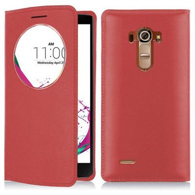 Microsonic Lg G4 Beat (lg G4s) Kılıf Circle View Slim Kapaklı Akıllı Kırmızı Cep Telefonu Kılıfı