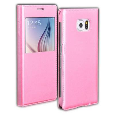 Microsonic View Slim Kapaklı Deri Samsung Galaxy S6 Kılıf Koyu Pembe Cep Telefonu Kılıfı