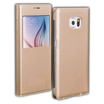 Microsonic View Slim Kapaklı Deri Samsung Galaxy S6 Kılıf Altın Sarısı Cep Telefonu Kılıfı
